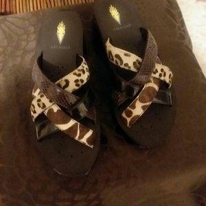 Volatile Leather Wedge Sandals